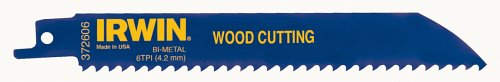 IRWIN Tools Reciprocating Saw Blade, Wood- and Nail-Embedded Wood-Cutting, 6-Inch, 6 TPI 5 Pack (372606P5)
