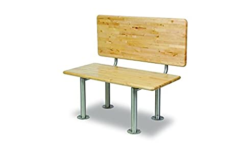 Ada Locker Bench With Back Support Stainless Steel Legs
