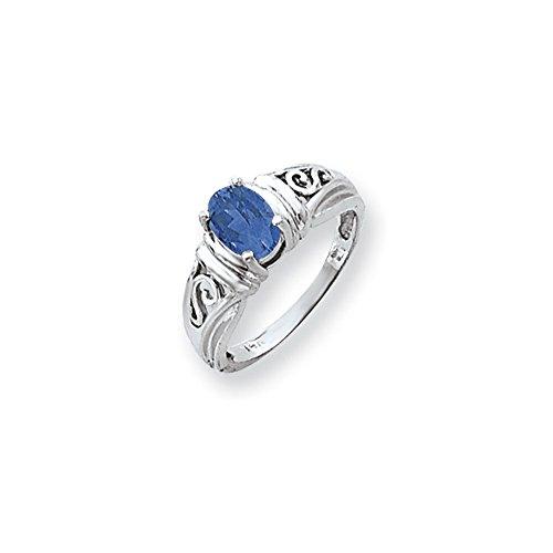 Bonyak Jewelry 14k White Gold 7x5mm Oval Tanzanite Ring - Size 6 ()