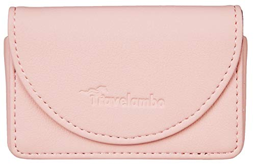 Travelambo Leather Business Card Holder Case for Men or Women Name Card Case Holder Magnetic Shut (Napa Pink Lotus)