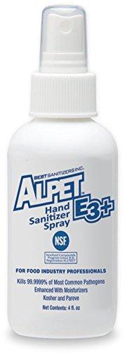 Best Sanitizers SA10036 Alpet E3 Plus Hand Sanitizer Spray, 4 oz Finger-Pump Bottle (Case of 48) -