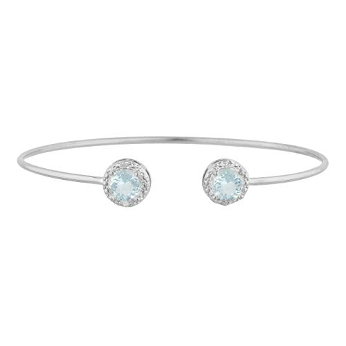 - 2 Ct Simulated Aquamarine & Diamond Round Bangle Bracelet .925 Sterling Silver