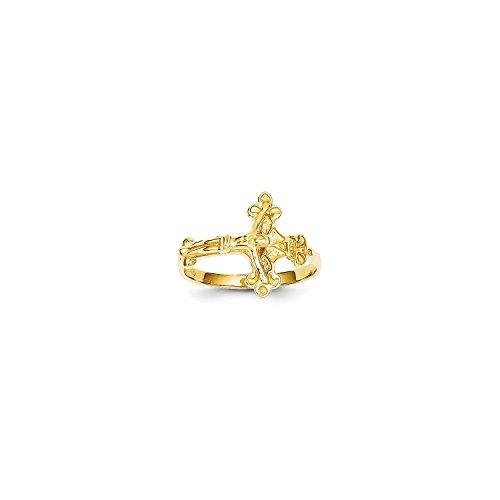 Diamond Cut Crucifix Ring - Roy Rose Jewelry 14K Yellow Gold Satin & Diamond-Cut Crucifix Ring ~ Size 6