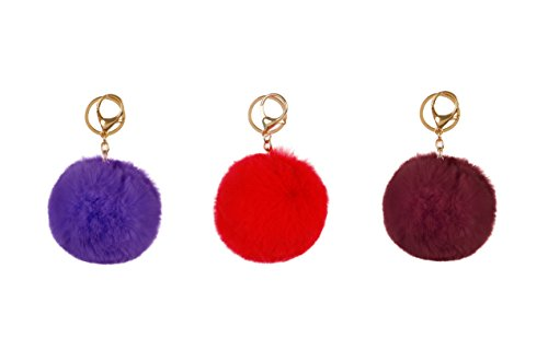 RufnTop 6 PCS PomPom KeyChain Gold Ring Car Key Ring or Handbag Accessories(6 PCS REGULAR MIX) by RufnTop (Image #2)