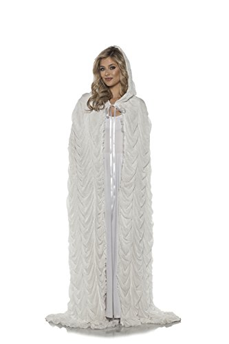 Underwraps Women's Full Length Double Layered Hooded Coffin Cape -White