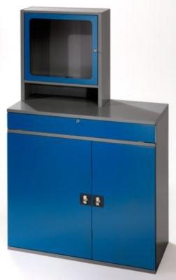 RAU Computer-Arbeitsstation - Monitorgehäuse, 1 Ausziehboden, 2 Schubladen, anthrazit / enzianblau - Schränke EDV-Mobiliar PC-Arbeitsplatzsysteme EDV-Schränke PC-Stationen Arbeitsstationen PC-Schränke Computerschränke Workstations Schränke EDV-Mobiliar