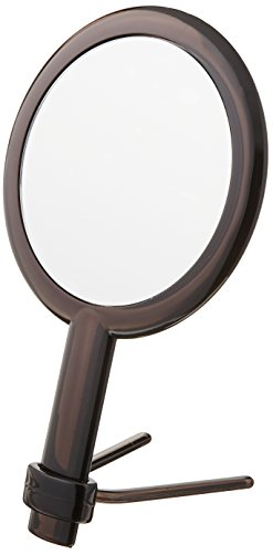 Modern Mirror Handheld Travel Vanity Makeup Mirror with Adjustable Stand & 5 or 1 X Magnification Capability, Black