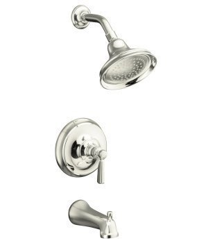 Kohler K-T10582-4-SN Bancroft Rite-Temp Pressure-Balancing Bath and Shower Faucet Trim with Slip-Fit Spout and Metal Lever Handle, Valve Not Included, Polished Nickel