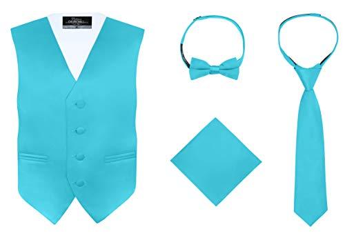S.H. Churchill & Co. Boy's 4 Piece Vest Set, with Bow Tie, Neck Tie & Pocket Hankie, Teal Size 8