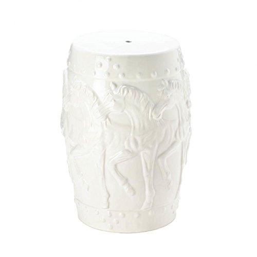 Garden Stool White Ceramic, Small Round Ceramic Outdoor Stool - Horse