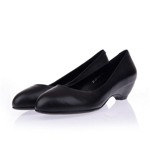 Micro Low 5 Black Girls Closed WeiPoot Fiber Leather Heel 7 M B Pointed Soft Cow US Pumps Toe Solid Material 1SvISwaq