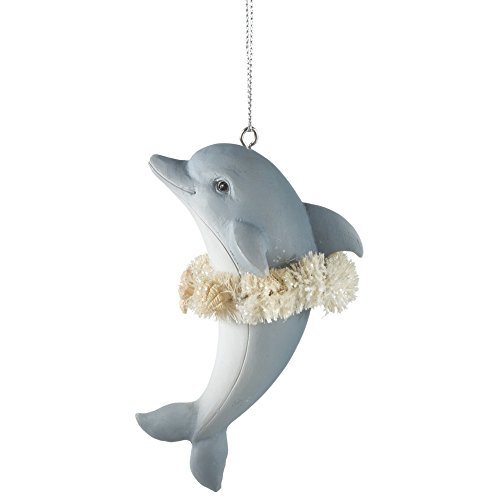 Dolphin Wearing Hula Skirt Ornament (Hand Painted Resin Glove)