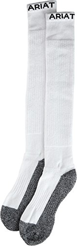 Ariat Men's Full Cushion Over The Calf 2-Pack Sock, White, Large