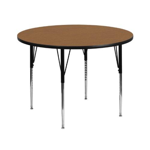 (Flash Furniture 42'' Round Oak Thermal Laminate Activity Table - Standard Height Adjustable Legs)
