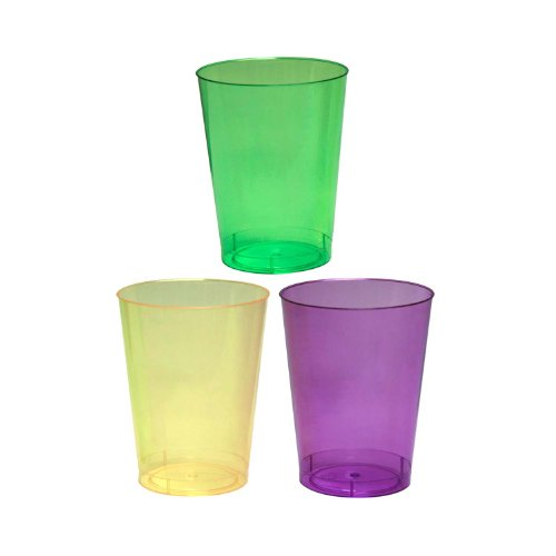 Party Essentials Hard Plastic Party Cups/Tumblers, 10-Ounce, Mardi Gras Mix, 50-Count ()