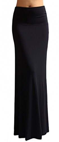 Azules Women's Banded Maxi Skirt (Large, Navy)