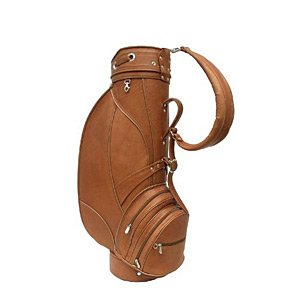 Leather Deluxe Golf Bag - Piel Leather Deluxe 9in Golf Bag, Saddle