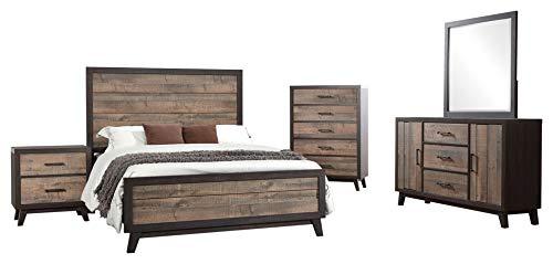 Calista 5 Piece Bedroom Set, Queen, Rustic Mahogany & Dark Ebony Frame Wood, Rustic (Panel Bed, Dresser, Mirror, Chest, 1 Nightstand)