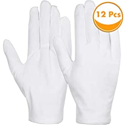 White Cotton Gloves, Anezus 6 Pairs Cott...