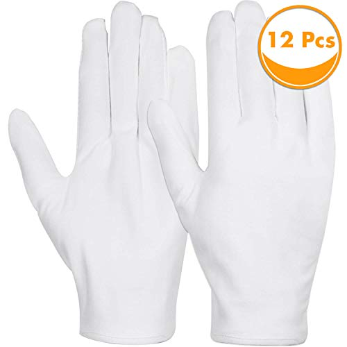White Cotton Gloves, Anezus 6 Pairs Cotton Gloves Large Cloth Gloves for Women Dry Hands Eczema Moisturizing Serving Archival Cleaning Coin Jewelry Silver Costume Inspection -