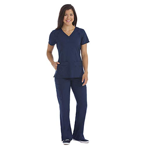 Med Couture Activate Women's Refined Scrub Top & Transformer Cargo Scrub Pant Set
