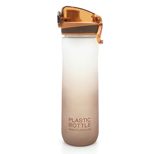 TClian Sport Water Bottle 600ml 20oz, BPA Free Plastic, Flip Top Lid, Opens With 1-Click for Gym, Cycling, Camping, Running, Hiking, Travelling and Outdoors (Brown)