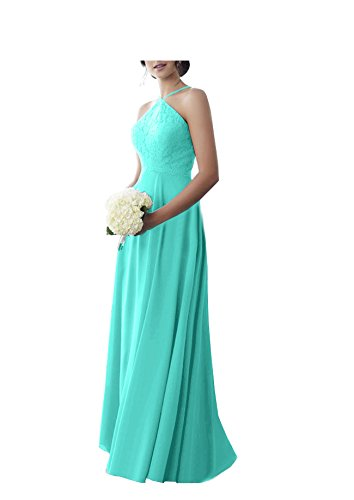 Gowns Evening Bridal Bridesmaid Aqua Lace Women's Party to Dresses Halter Beauty S020 HxBYR0nwqB