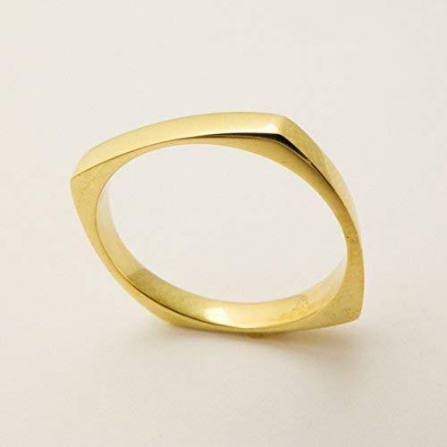 Thin Square Wedding Band Handmade of 14K /18K Solid Yellow, Rose or White Gold, Artisan Men's and Women's Modern Geometric Ring