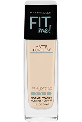 Maybelline Fit Me Matte + Poreless Liquid Foundation Makeup, Porcelain, 1 fl. oz. Oil-Free Foundation (Best Lip Moisturizer 2019)