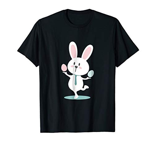 Cute Easter Bunny Balancing with Eggs Tee Shirt ()