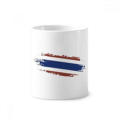 Thai Bangkok Thailand Flag Art Illustration Toothbrush Pen Holder Mug White Ceramic Cup 12oz by DIYthinker