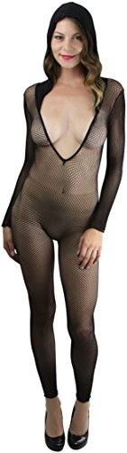 ToBeInStyle Women's FOOTLESS HOODED FISHNET CROTCHLESS BODYSTOCKING - BLACK -