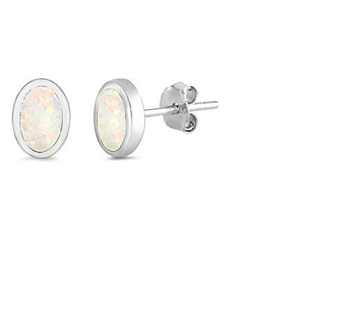 White Synthetic Opal Oval Shape Earring Sterling Silver