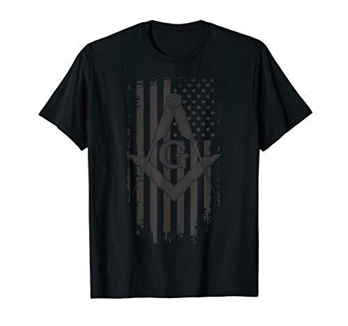 Mens Masonic American Flag Square and Compass - Freemason T-Shirt (Shirts Masonic)