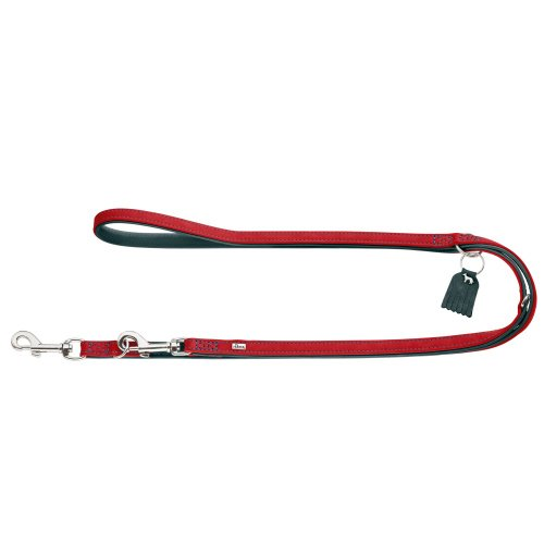 Red L red L HUNTER Training leash Lucca, 20 200 Cow nappa leather, red turquoise