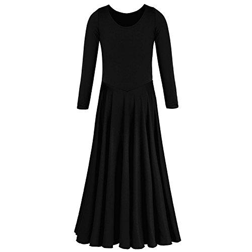 IWEMEK Kids Girls Cotton Long Sleeve Praise Liturgical Loose Fit Full Length Lyrical Dance Dress Praisewear Ballet Dancewear Costume
