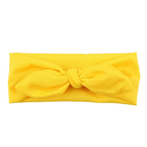 [CocoMarket Baby Girls Rabbit Bow Ear Hairband Turban Knot Head Wraps (Yellow)] (Rabbit Costume Pattern)
