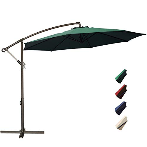 RUBEDER Offset Umbrella - 10Ft Cantilever Patio Hanging Umbrella,Outdoor Market Umbrellas with Crank Lift & Cross Base (10 Ft, Dark - Green Painted Base