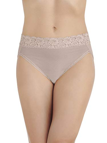 Vanity Fair Women's Flattering Lace Hi Cut Panty 13280, Toasted Coconut Novelty, Medium/6 ()