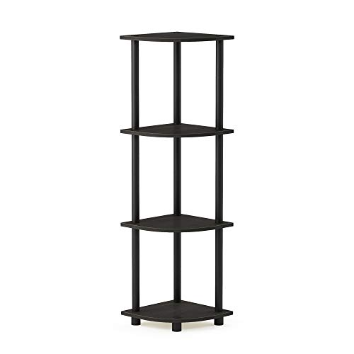 Furinno 12078EX/BK Turn-n-Tube Multipurpose 4-Tier Corner Shelf, Espresso/Black ()