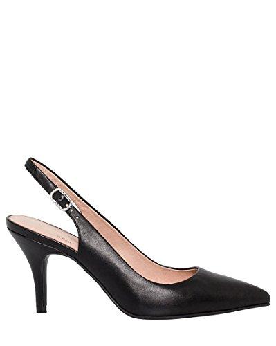 Leather Shoes Slingback (LE CHÂTEAU Le Chteau Women's Leather Pointy Toe Slingback Pump,8.5,Black)