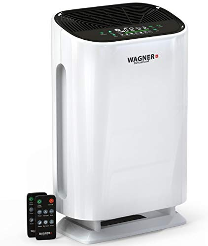 WAGNER Switzerland Air Purifier WA888 Smart i-Sense air Quality Monitor with Particle sensor for Large Rooms Removes Mold, Odors, Dust, Smoke, Allergens, Germs and Pet Dander. True HEPA Filter 5-Stage