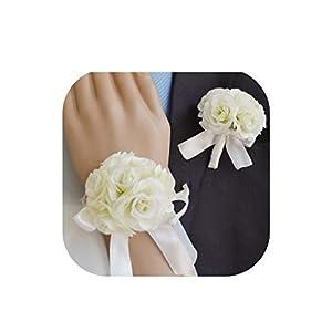 Handmade Wedding Corsages Groom Boutonniere Bride Bridesmaid Mom Hand Wrist Flower Artificial Rose Flowers Prom Corsage Flower 43