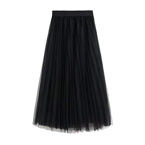 WAFA Women's Long Tulle Skirt Tutu Swing Skirts Pleated Maxi Chiffon Petticoat High Elastic Waist Midi Skirt Flowing Big Hem-Black