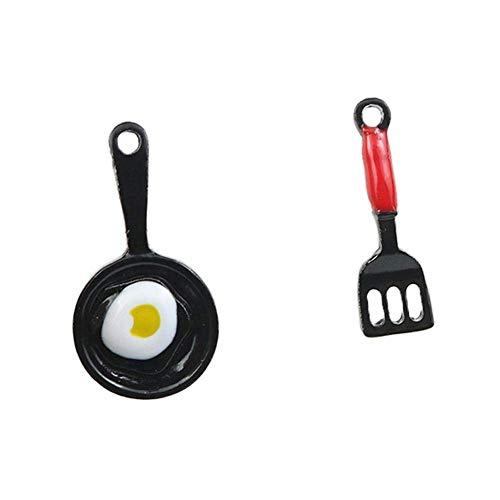Potelin Women Scoop Pan Earrings Poached Egg Kitchen Tool Pendant Ear Stud Asymmetric Cute Durable and Useful