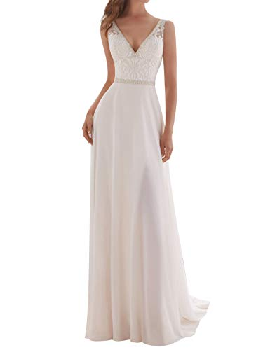 Wedding Dress Lace Bridal Dresses Beach Wedding Gown A line Bridal Gown with Belt White