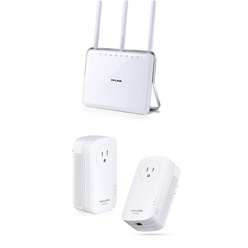TP-LINK Archer C9 AC1900 Dual Band Wireless AC Gigabit Router and TP-LINK TL-PA8010P KIT AV1200 Gigabit with Power Outlet Pass-through Powerline Adapter ()