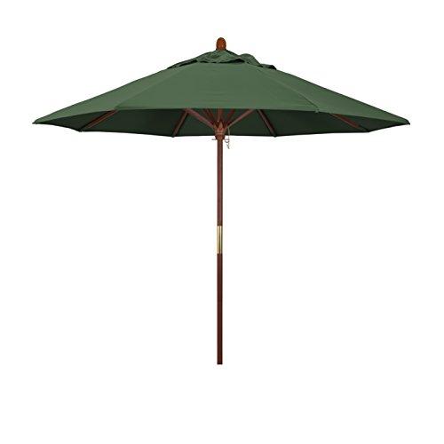 California Umbrella 9' Round Hardwood Frame Market Umbrella, Stainless Steel Hardware, Push Open, Hunter Green Olefin