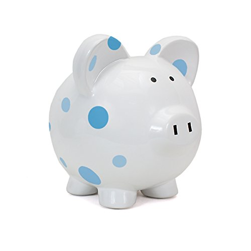 Polka Dot Piggy Bank (Child to Cherish Large Pig White with Polka Dot Toy Bank, Blue)