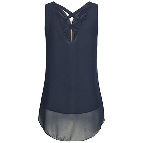 (XVSSAA Women Loose Sleeveless Tank Top, Off-Shoulder Crossover Back Hem Layered Zipper V-Neck T Shirts Tops Blue)